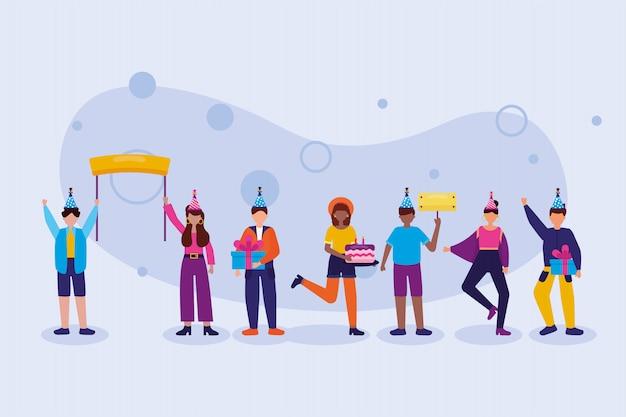Mujeres y hombres en diseño de vector de celebración de feliz cumpleaños