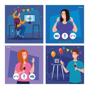 Mujeres y hombres con globos de fiesta en video conferencia