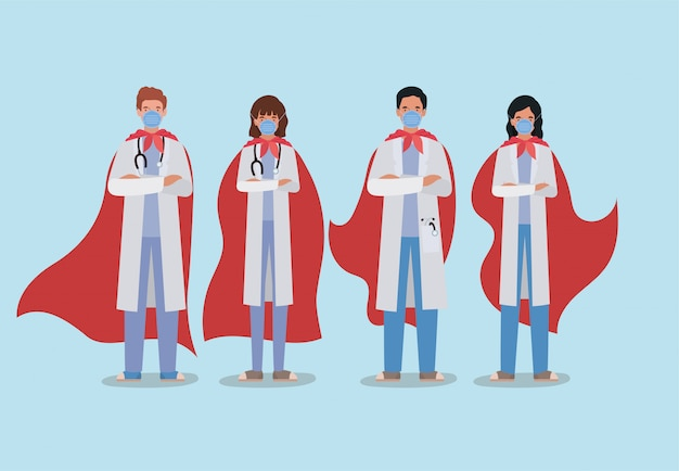 Mujeres y hombres médicos héroes con capa contra el diseño del virus ncov 2019 de los síntomas de la enfermedad de infección covid 19 cov y la ilustración del tema médico