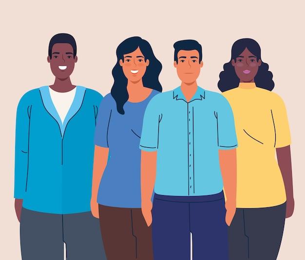 Mujeres y hombres multiétnicos juntos, concepto de diversidad y multiculturalismo