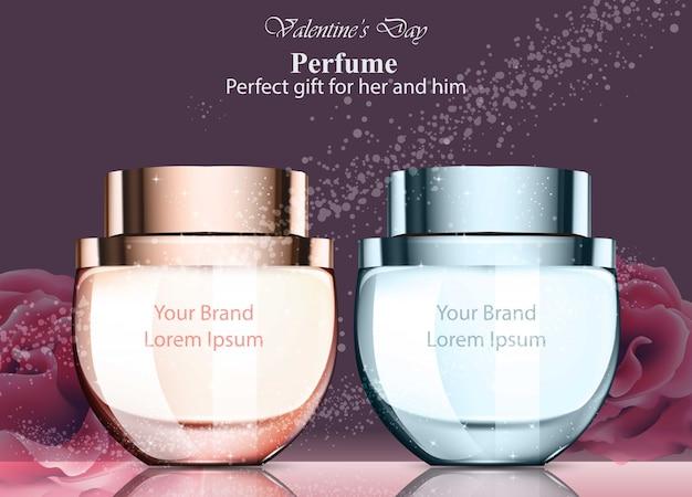 Las mujeres y los hombres perfuman fragancias en botella. realistic vector product packaging designs burlarse
