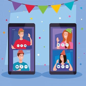 Mujeres y hombres con sombreros de fiesta en teléfonos inteligentes