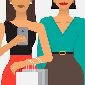 Mujeres en una ilustración de compras juerga