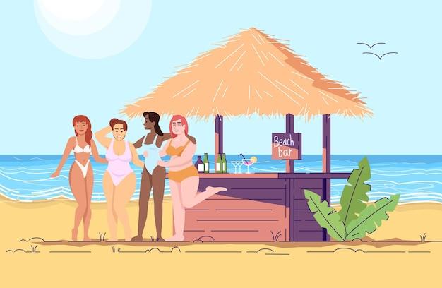 Mujeres en la ilustración de doodle plano de bar de playa. amigas por mar. cóctel a la orilla del mar. vacaciones en un país exótico. personaje de dibujos animados 2d de turismo de indonesia con contorno para uso comercial