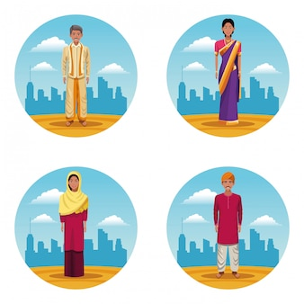 Mujeres indias y hombres indios.