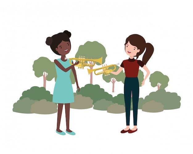 Mujeres con instrumentos musicales en el paisaje.