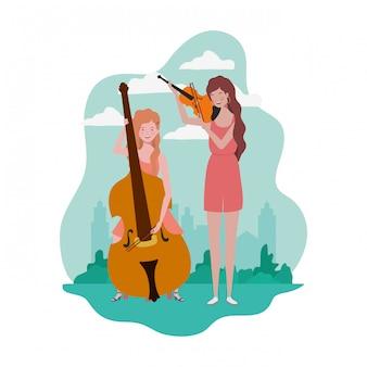 Mujeres con instrumentos musicales y paisaje.