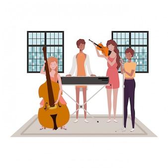 Mujeres con instrumentos musicales.