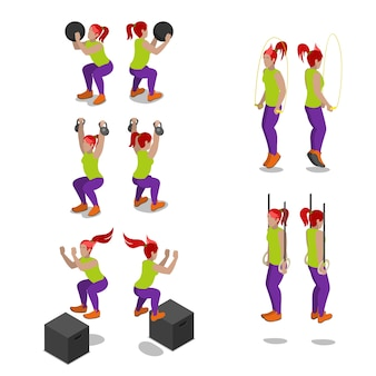 Mujeres isométricas en ejercicios y entrenamiento de gimnasio crossfit. vector ilustración plana 3d