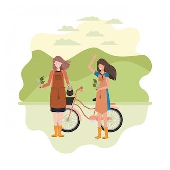 Mujeres jardineras con personaje de avatar de paisaje