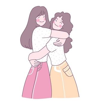 Mujeres jóvenes abrazándose en amor
