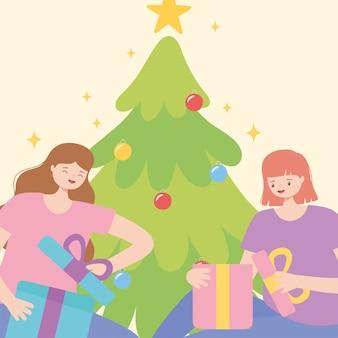 Mujeres jóvenes abriendo cajas de regalo con ilustración de vector de árbol de navidad