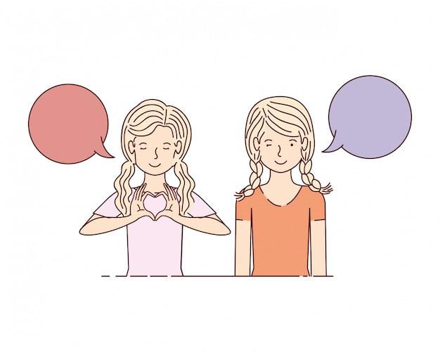 Mujeres jóvenes con bocadillo de diálogo personaje de avatar