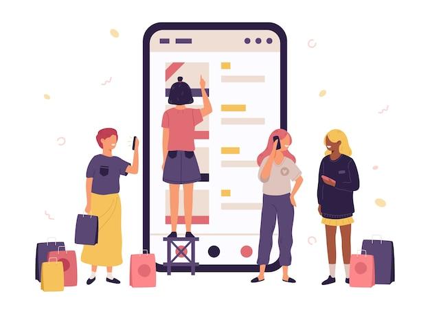 Mujeres jóvenes con bolsas de compras y teléfonos inteligentes, teléfono móvil con interfaz de tienda online.