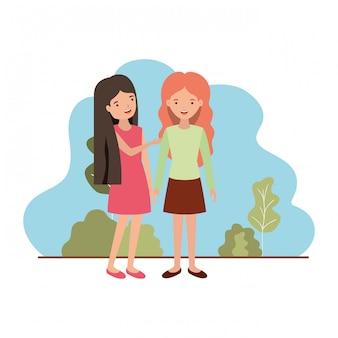 Mujeres jóvenes con carácter avatar de paisaje.