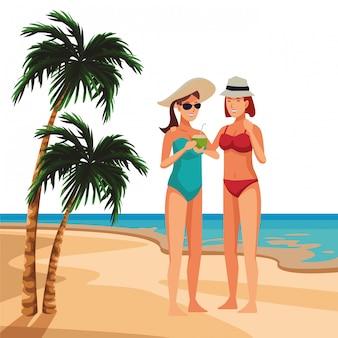 Mujeres jóvenes en caricaturas de verano.