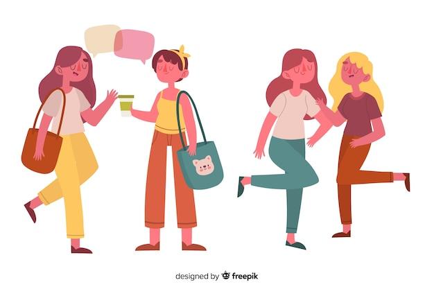 Mujeres jóvenes colgando ilustrado