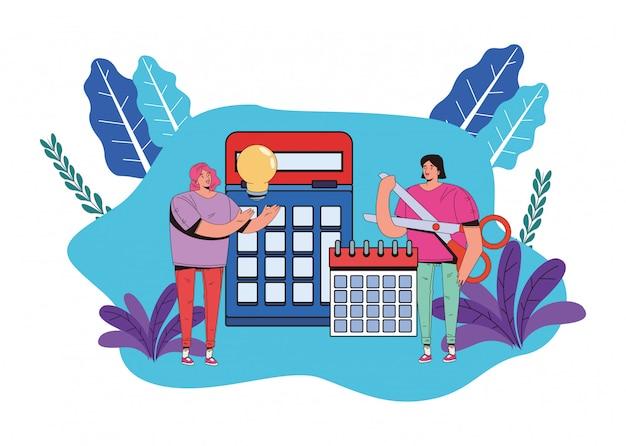 Mujeres jóvenes con diseño de ilustración de iconos de negocios financieros