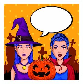 Mujeres jóvenes con disfraces de halloween y bocadillo en blanco en estilo pop-art