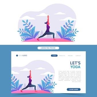 Mujeres jóvenes haciendo yoga en la naturaleza para aterrizaje web