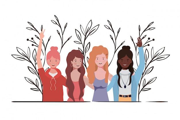 Mujeres jóvenes con ilustración de paisaje