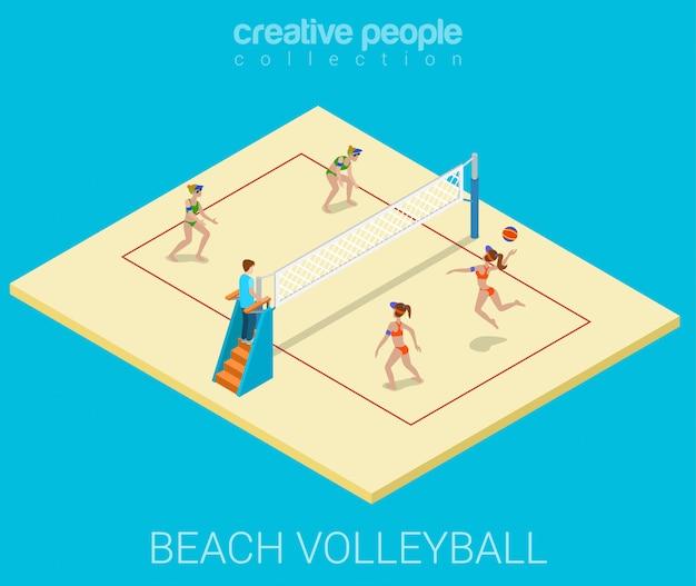 Las mujeres jóvenes juegan voleibol de playa plana ilustración isométrica.