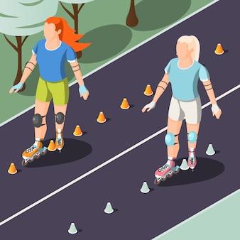 Mujeres jóvenes montando en rodillos