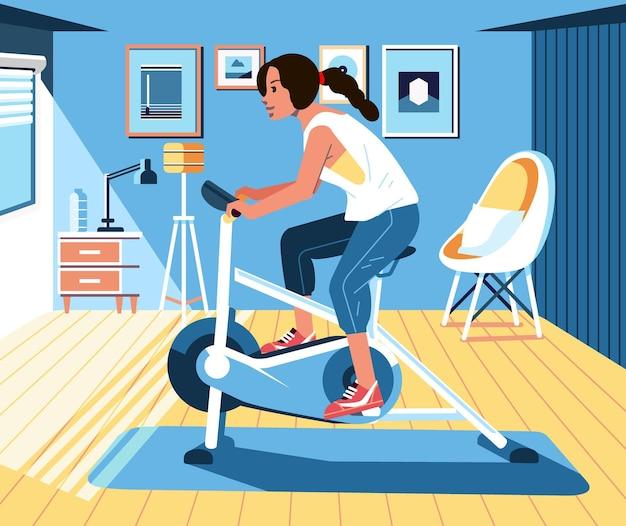 Mujeres jóvenes que hacen ejercicio en casa usando bicicleta estática ilustración de diseño de interiores de casa