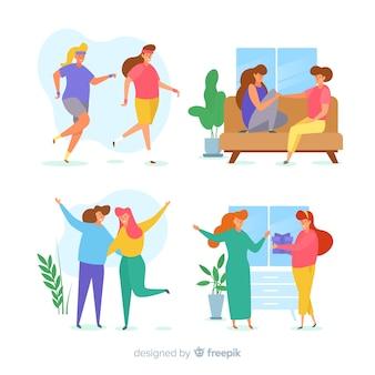 Las mujeres jóvenes que pasan tiempo juntas ilustradas