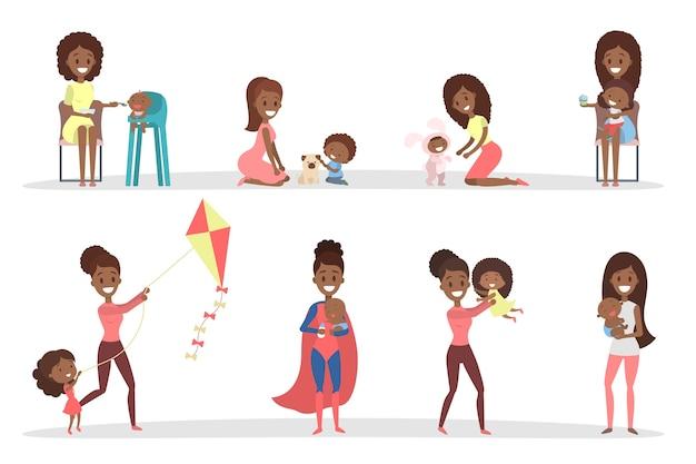 Mujeres jugando con sus hijos. madre cariñosa pasa tiempo junto con su hijo. ilustración