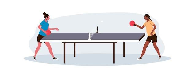 Mujeres jugando tenis de mesa
