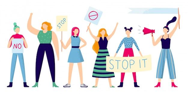 Mujeres manifestantes, protesta grupal femenina, mujer fuerte con cartel de feminismo y manifestación de derechos de las mujeres plana