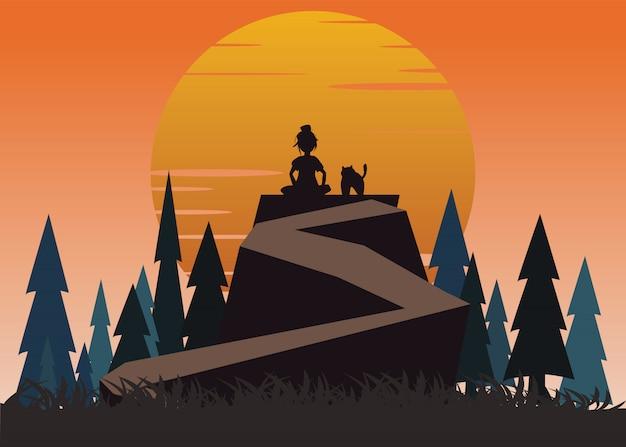 Mujeres y mascotas en una ilustración vectorial acantilado