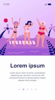Mujeres mayores que se relajan en la playa. mar, abuela, ilustración de ocio. concepto de estilo de vida y vacaciones para banner, sitio web o página web de destino