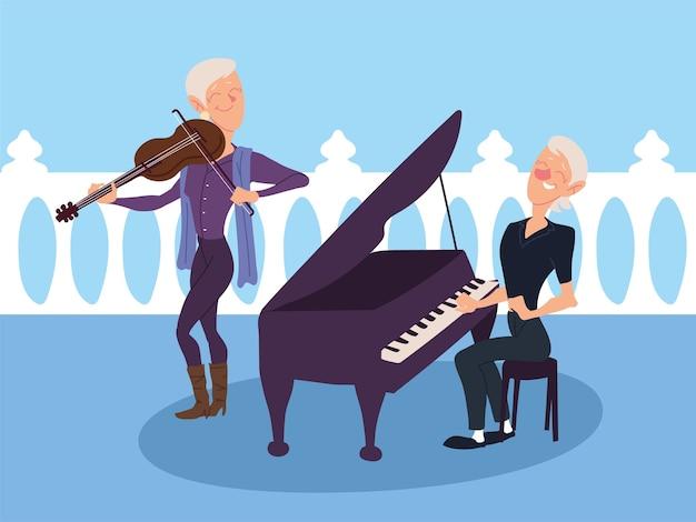 Mujeres mayores tocando instrumentos musicales, diseño senior activo