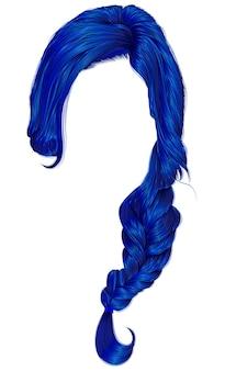 Mujeres de moda pelos de color azul oscuro. trenza. moda.