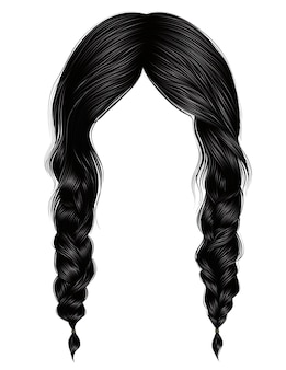 Mujeres de moda pelos morena color negro. dos trenzas.