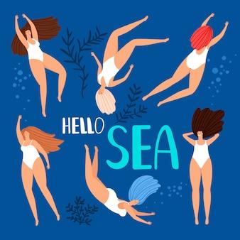 Mujeres nadando en el mar