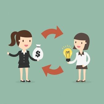 Mujeres de negocios cambiando ideas por dinero