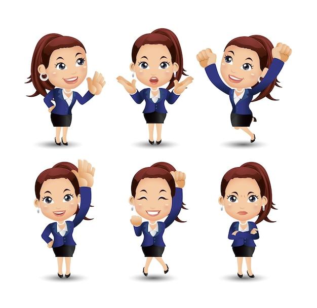 Mujeres de negocios con diferentes poses.