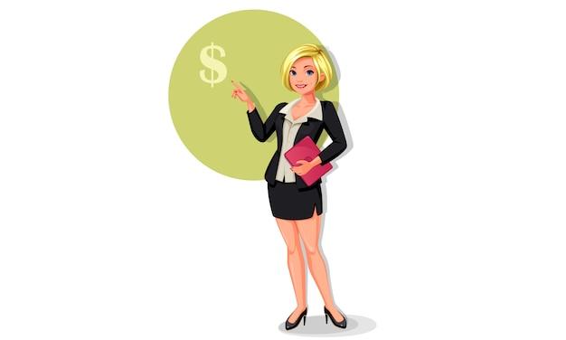 Mujeres de negocios jovenes en la actitud permanente que muestra la muestra de dólar