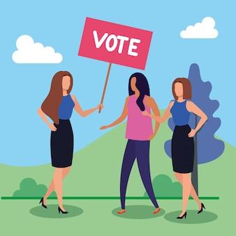 Mujeres de negocios y pancarta protesta con letras de voto