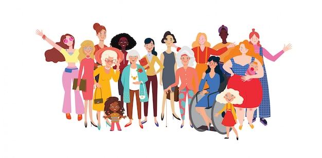 Mujeres y niñas felices de pie juntos. grupo de amigas, unión de feministas, hermandad. plantilla de banner horizontal en el día internacional de la mujer