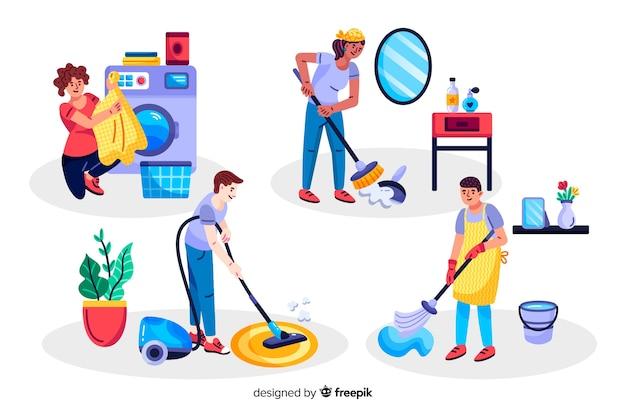 Mujeres y niños haciendo tareas domésticas