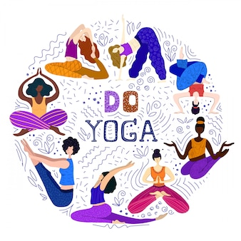 Las mujeres o las niñas practican yoga.