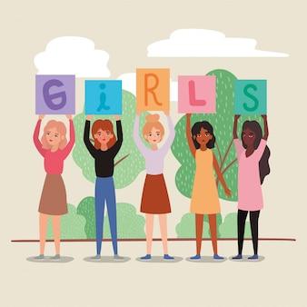 Mujeres con pancartas, árboles, arbustos y nubes, diseño de empoderamiento, poder femenino, feministas, género, feminismo, derechos de los jóvenes, protesta y tema fuerte.