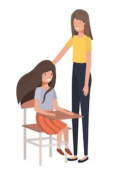 Mujeres con personaje de avatar de escritorio escolar