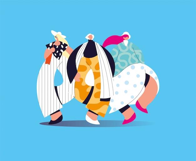 Mujeres de pie en diferentes poses con ropa de moda