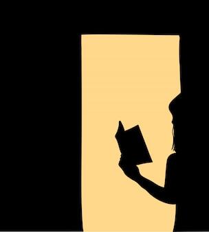 Mujeres de pie leyendo libros en las sombras