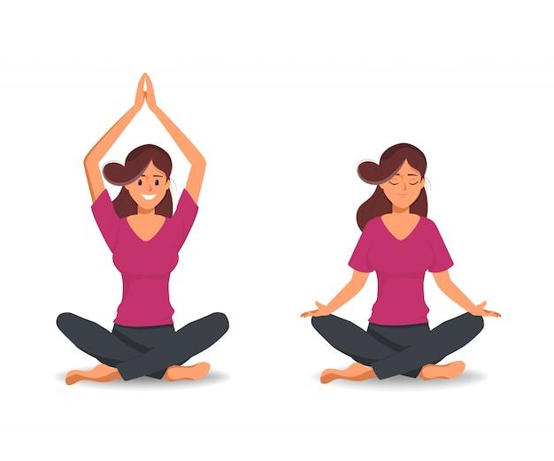 Las mujeres en pose de carácter de yoga para saludable.